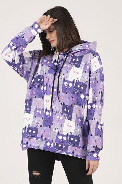 Gatto Moda Purple Cats Karantına Hoodıe & Kapsonlu Sweatshırt M Beden