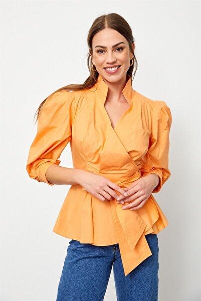 Setre Kadın Güneş Turuncusu Bağcık Detaylı Poplin Gömlek