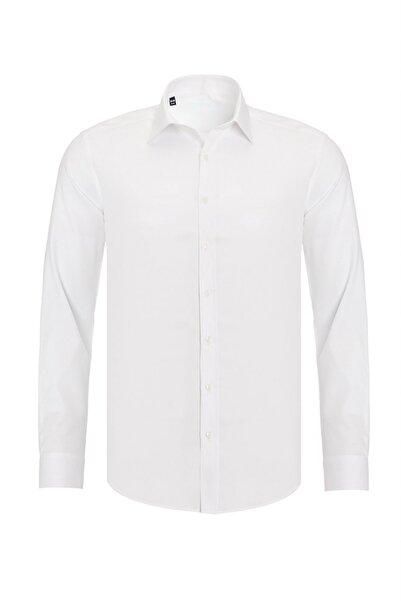 R-Germen Erkek Beyaz Mat Saten Pamuklu Slim Fit Gömlek