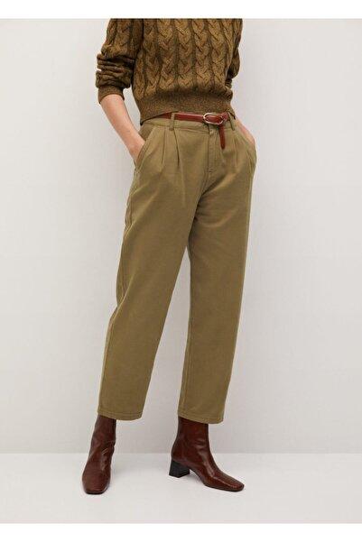 MANGO Woman Kadın Haki Pantolon