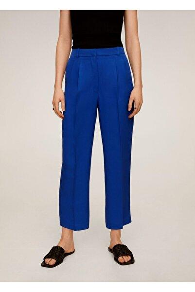 MANGO Woman Kadın Mavi Pili Detaylı Pantolon 67045958