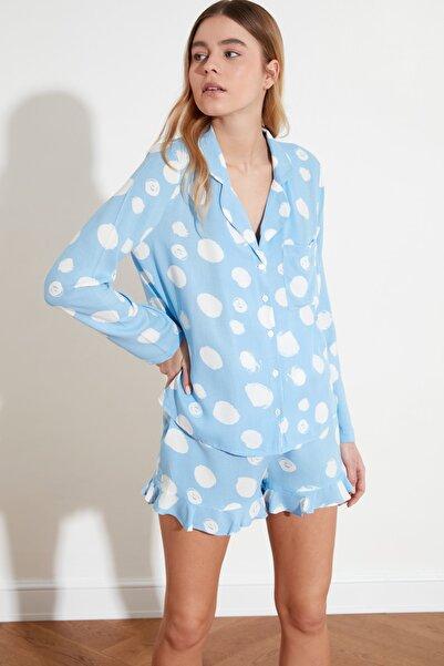 TRENDYOLMİLLA Mavi Fırfırlı Dokuma Pijama Takımı THMAW21PT0050