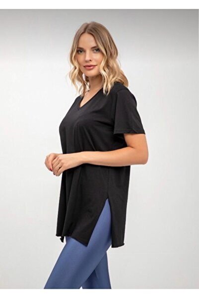 KAROL Kadın Siyah Yanları Yırtmaçlı Siyah V Yaka Basic T-shirt