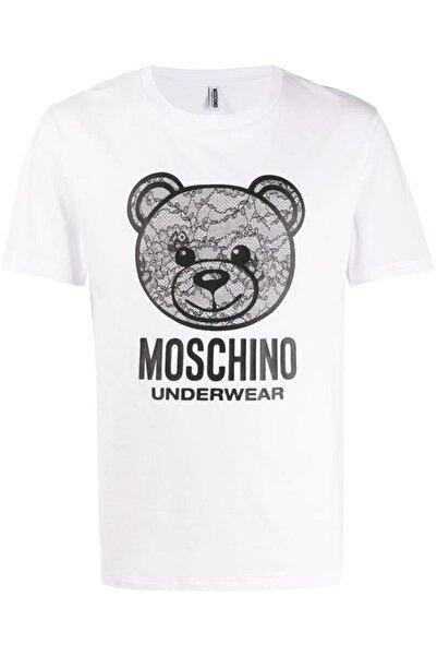 Moschino Erkek Beyaz Baskılı T-shirt
