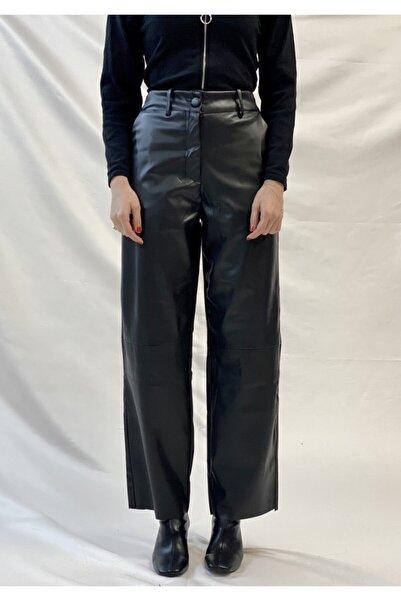 Rose'n Bella Kadın  Suni Deri Straight Pantalon