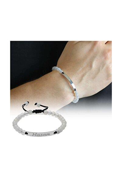Tesbihane Kişiye Özel Isim Yazılı Beyaz Akik Doğaltaş Çelik Kombinli Unisex Bileklik