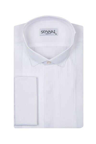 SÜVARİ Erkek Beyaz Slim Fit Nervürlü Ata Yaka Gömlek