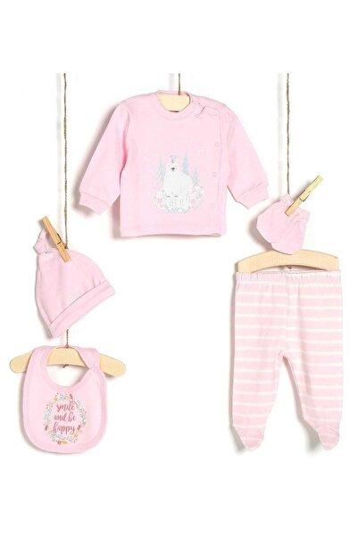 Aziz Bebe Kız Bebek Hastane Çıkışı 5li Zıbın Seti 5209