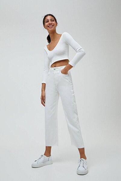 Pull & Bear Kadın Beyaz Basic Petite Culotte Jean