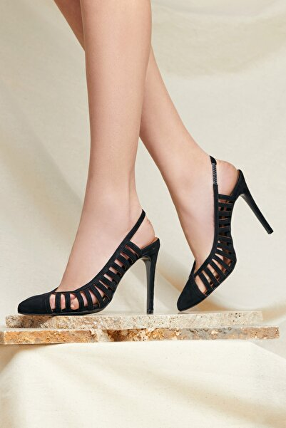 RENGIN Yanları Şerit Detaylı Topuğu Açık Süet Topuklu Ayakkabı