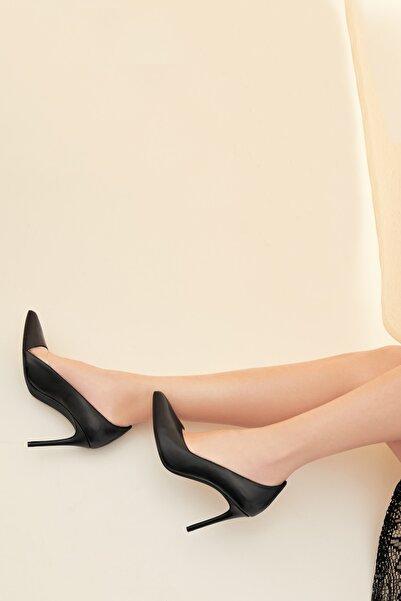 RENGIN Yandan Transparan Detaylı Deri Topuklu Ayakkabı