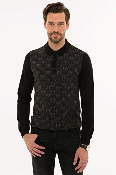 Pierre Cardin Erkek Siyah Slim Fit Polo Yaka Triko Kazak G021SZ0TK.000.1120238