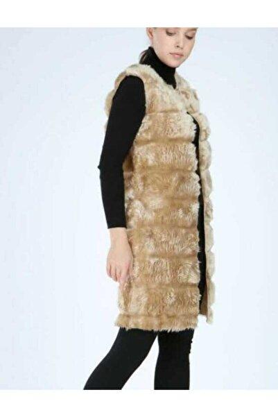 EGN Fashion Kadın Hardal Sarısı Uzun Peluş Yelek