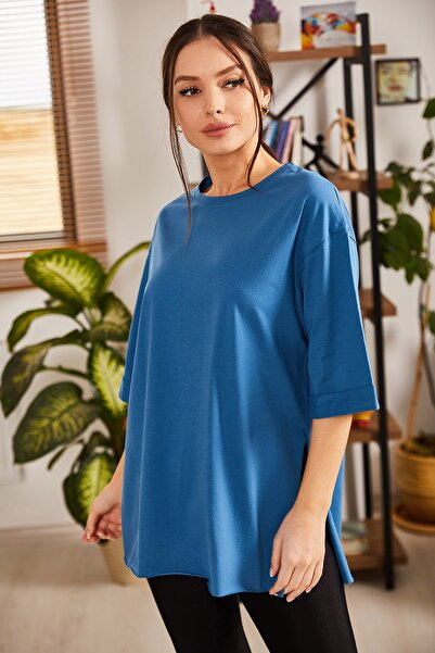 armonika Kadın Mavi Yuvarlak Yaka Geniş Kollu Yanı Yırtmaçlı T-Shirt ARM-19Y012003