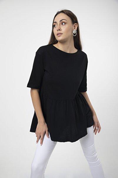 MD trend Kadın Siyah Volanlı Geniş Kesim Basic Örme T-shirt