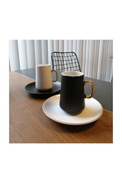 BİEV  Siyah Beyaz 6'lı Kahve Fincan Takımı