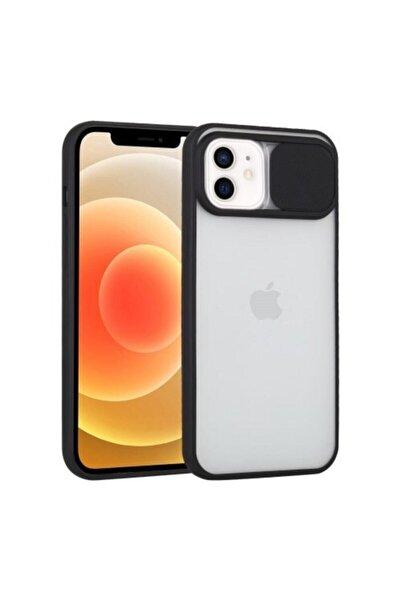 """Teknoçeri Iphone 11 6.1"""" Uyumlu Kamera Lens Korumalı Sürgülü Siyah Kılıf"""