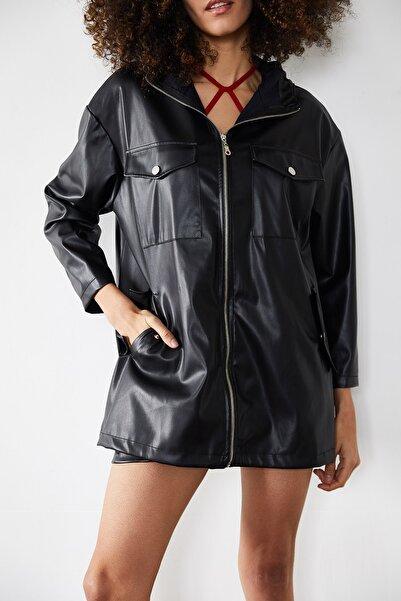 XENA Kadın Siyah Oversize Deri Ceket 1KZK4-11392-02