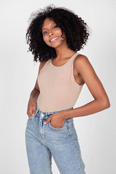 Addax Kadın Bisküvi Kalın Askılı Bodysuit B11004 - B10 Adx-0000022054