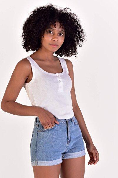 Addax Kadın Beyaz Kolsuz Bluz B0822 - L13 ADX-0000021387