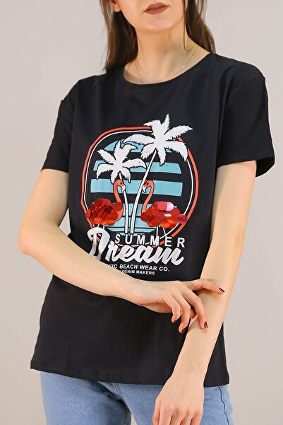 Lukas Kadın Siyah Baskılı Pullu Tişört 5012