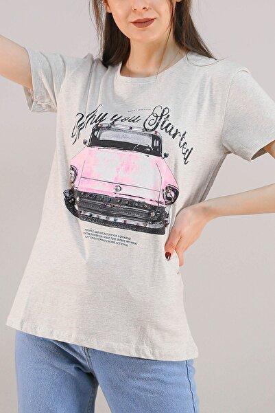 Lukas Kadın Gri Baskılı İncili Tişört