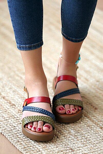 Pembe Potin Kadın Kahverengi Hakiki Deri Multi Baskı Sandalet