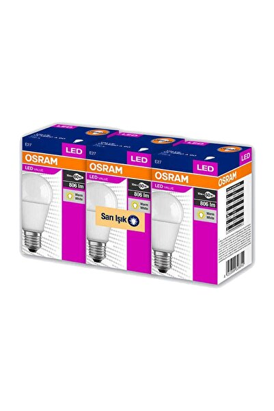 Osram Led Value 3 Lü Ampul Sarı Işık 8.5 W 60Watt