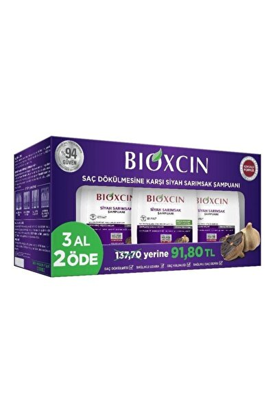 Bioxcin Siyah Sarımsaklı Şampuan 3'lü