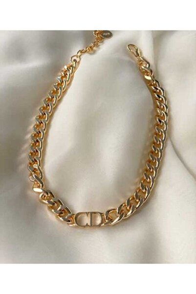 Elmas Dizayn Çelik Christian Dior Model Kalın Zincir Cd Kolye