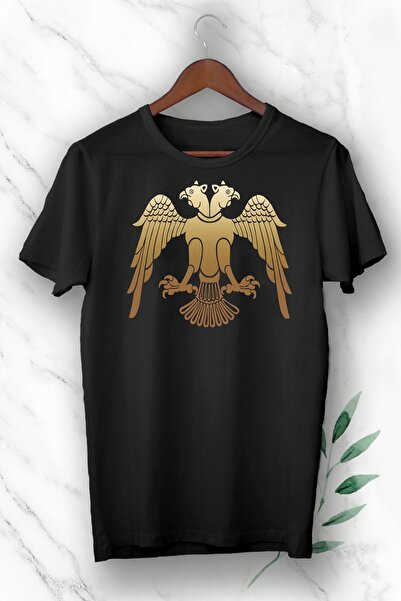 perseusshopping Siyah Anadolu Selçuklu Çift Başlı Kartal Baskılı Unısex Tişört