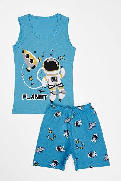 zepkids Erkek Çocuk Şortlu Pijama Takımı Planet Baskı 4-9 Yaş
