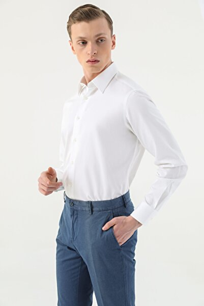 Damat Damat Comfort Beyaz Düz Travel Gömlek