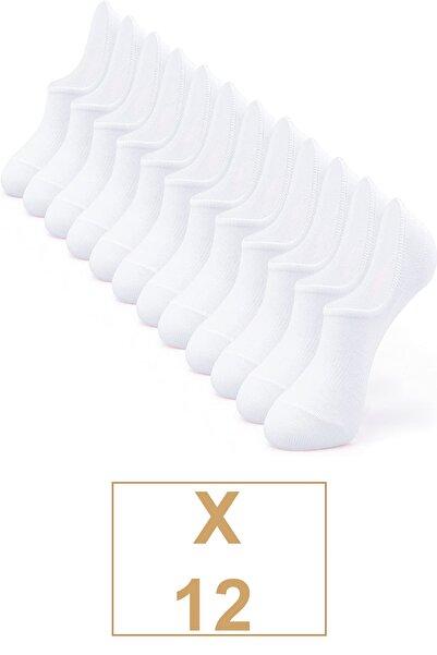 BGK Unisex  Pamuklu Görünmez Sneakers Çorap Beyaz 12 Çift