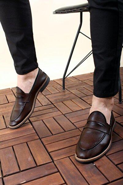 Oksit Erkek Kahverengi Loafer Rugan Ayakkabı