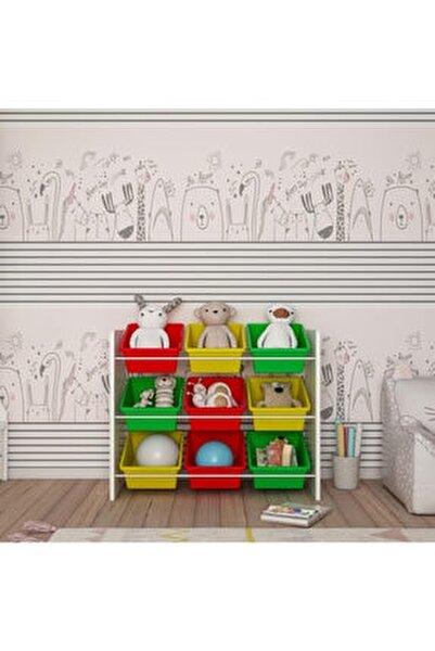 Renkli 9 Sepetli Montessori Oyuncak Dolabı