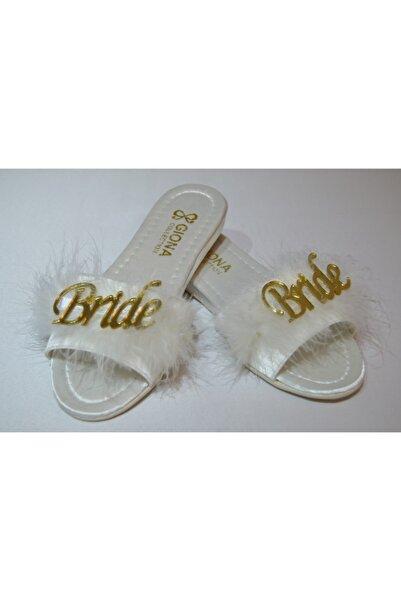 GIONA Kadın Tüylü Bride Gelin Terliği