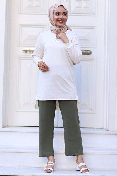 Moda Bu Huban Moda Kadın Haki Beli Lastikli Bol Paça Salaş Yazlık Pantolon Aerobin-865829 Aerobin-865829