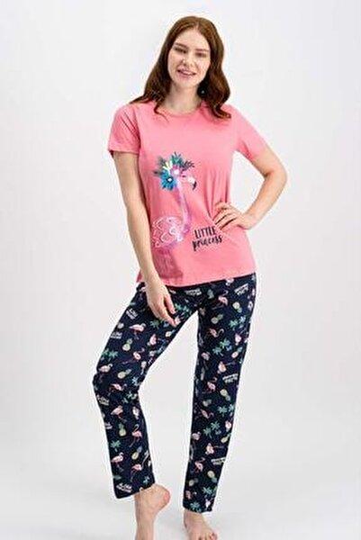 Kadın Şeker Pembe Kısa Kollu Pijama Takımı