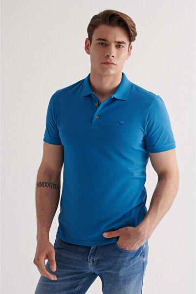 Avva Erkek Koyu Mavi Polo Yaka Düz T-shirt A11b1174