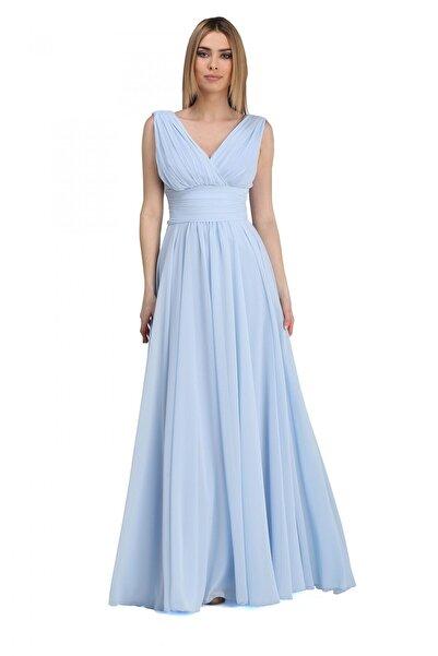 Pierre Cardin Bebe Mavi Şifon V Yaka Uzun Abiye Elbise