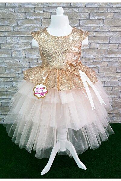 Mixie Gold Payetli Kız Çocuk Abiye Doğum Günü Özel Gün Elbise