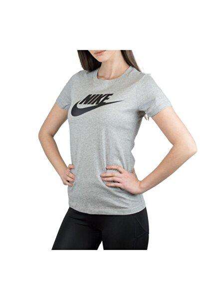 Nike Kadın Gri W Nsw Tee Essntl Icon Futura Kısa Kol T-shirt