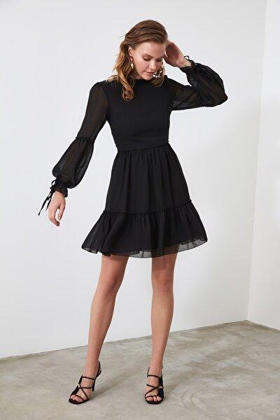 Siyah Büzgülü Elbise TWOAW20EL0345