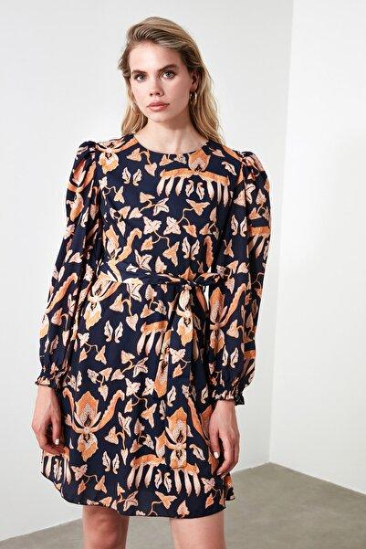 Lacivert Kuşaklı Desenli  Elbise TWOAW20EL1880