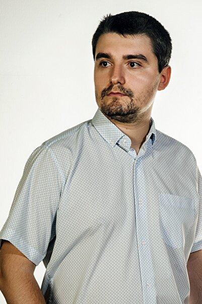 Erkek Beyaz Mavi Dokuma Baskılı Kısa Kol Tek Cepli Gömlek