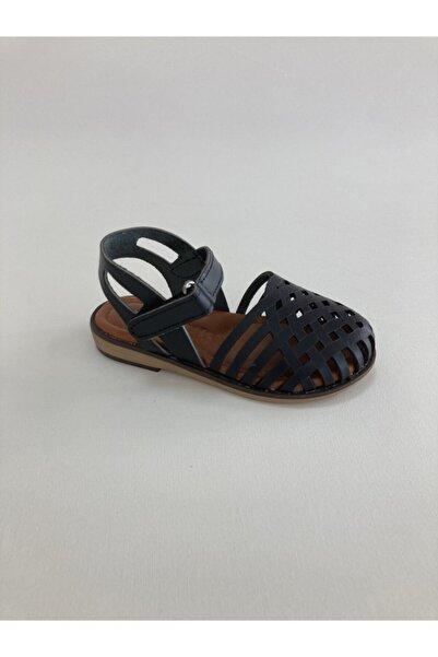 Bambino Kız Çocuk Siyah Hakiki Deri Şeritli Sandalet