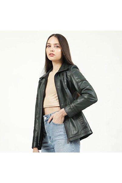 Dericlub Kadın Yeşil Hakiki Deri Ceket Yb-2139