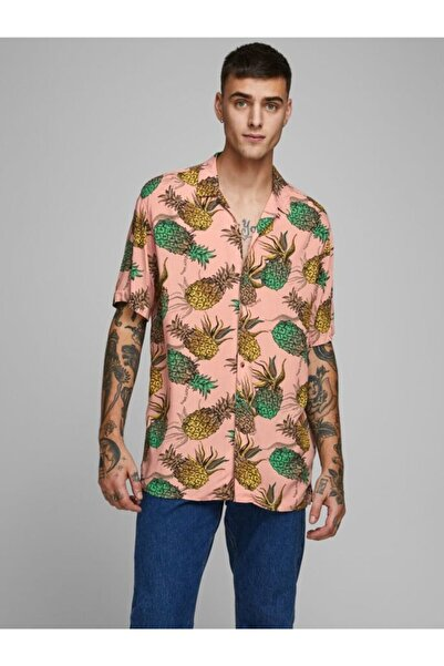 Jack & Jones Jack Jones Erkek Tropikal Baskı Kısa Kollu Gömlek 12170481