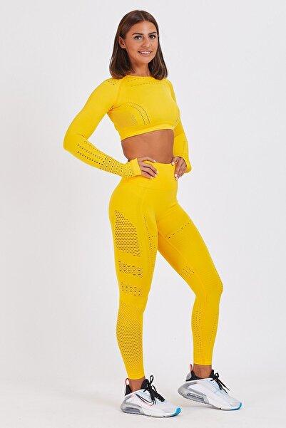 Gymwolves Kadın Sarı Dikişsiz Spor Tayt